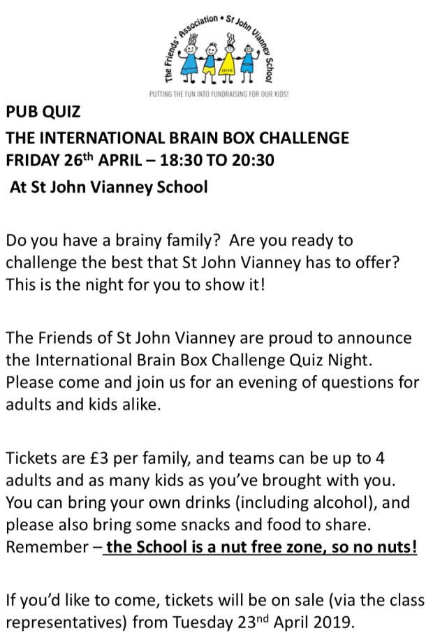 SJV PUB QUIZ – Putting the FUN into FUNdraising for our kids!